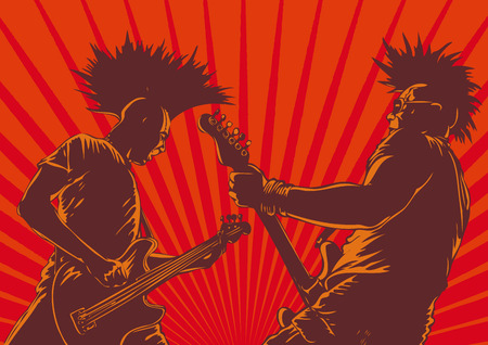 punk: punk guitar players in retro style. vector background