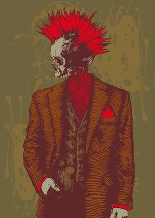 punk: cr�ne punk en costume masculin