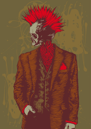crazy hair: punk skull in the mens suit Illustration