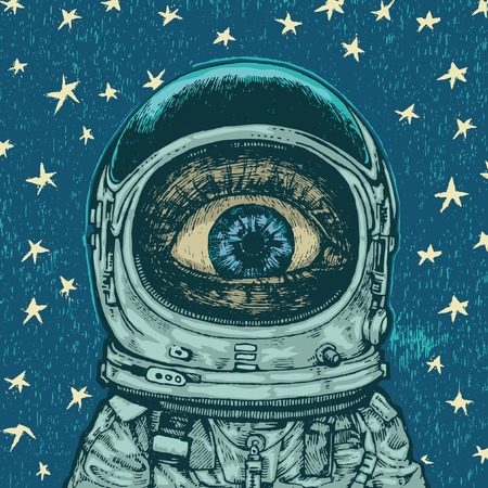 in amazement: background with amazement astronaut. vector illustration