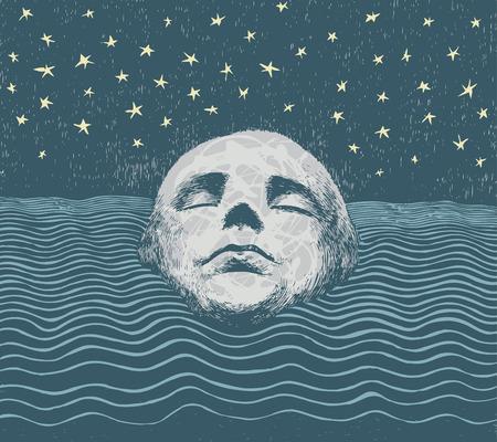 drowned: meditative vector background Illustration