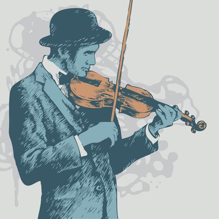 violist: achtergrond met violist. vectorillustratie  Stock Illustratie