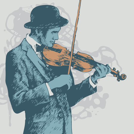 derby hats: background with violinist. vector illustration
