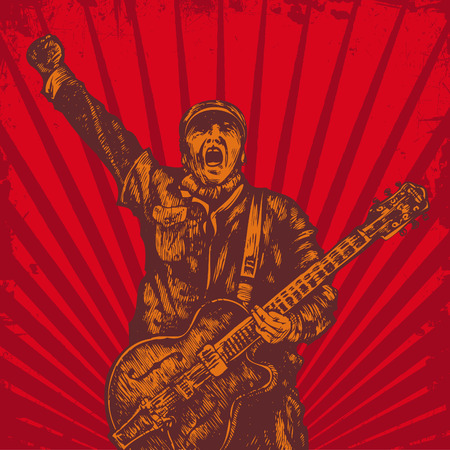 protest poster: guitar player in retro style. vector grunge background
