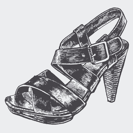 womens shoe. sketch style. vector illustration