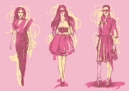female fashion models in a graphic style. vector illustration