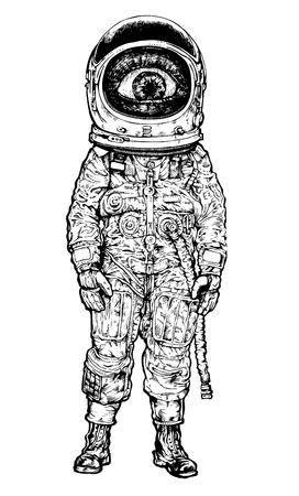 astronaut in space: amazement astronaut. vector illustration