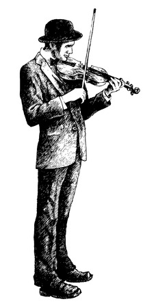 derby hats: violinist. ink style. vector illustration