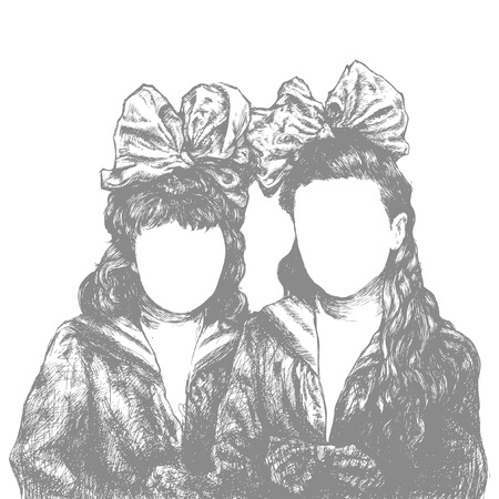 two sisters with bows. drawing style. vector illustration Illustration