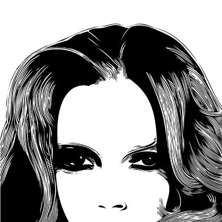 strange: Woman face, vector illustration.