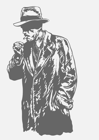 cartoon gangster: man in hat, graffiti style, vector illustration  Illustration