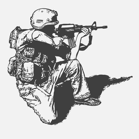 silhouette soldat: soldat avec armes � feu, style graffiti, illustration vectorielle