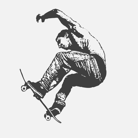 ni�o en patines: ni�o saltando sobre una patineta, estilo graffiti, ilustraci�n vectorial  Vectores