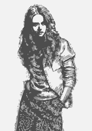 beautiful girl. engraved style, vector illustration  Illustration