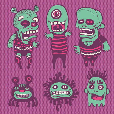 crazy cute: funny characters set. vector illustration.