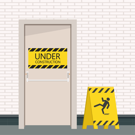 Be careful label. door vector. free space for text. wallpaper. background. Illustration