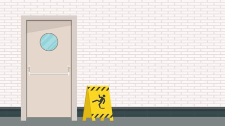 Be careful label. door vector. free space for text. wallpaper. background. 일러스트