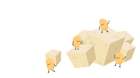 Tofu cartoon vector. soy bean character. wallpaper. free space for text.