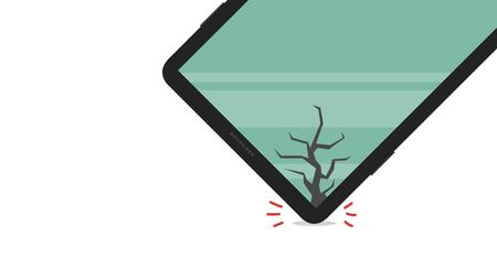 broken phone vector. free space for text. wallpaper. Stock Illustratie