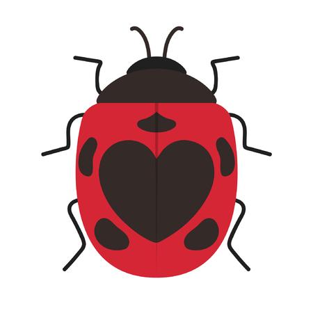 lady bug cartoon vector. heart symbol.