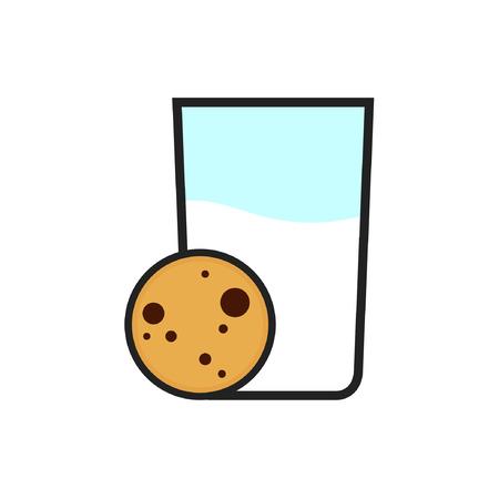 Milk and cookie cartoon vector. symbol. logo. Stock Illustratie