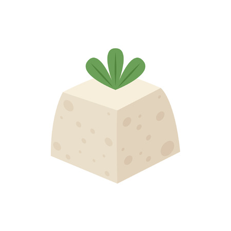 Tofu cartoon vector. free space for text.
