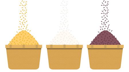 Rice bucket cartoon vector. symbol. rice drop.