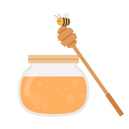 Honey jar cartoon vector. symbol. logo.