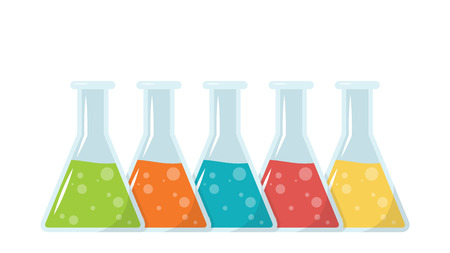 Science bottle cartoon vector. wallpaper. free space for text. copy space. Stock Illustratie
