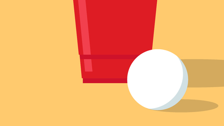 Red beer cup vector. ball vector. wallpaper. free space for text. copy space.