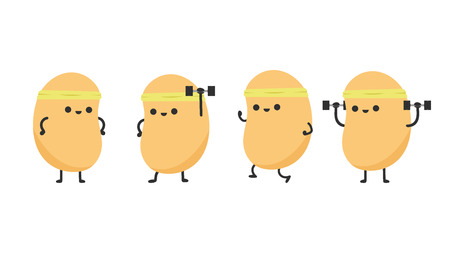 Soy bean character design. wallpaper. Exercise.