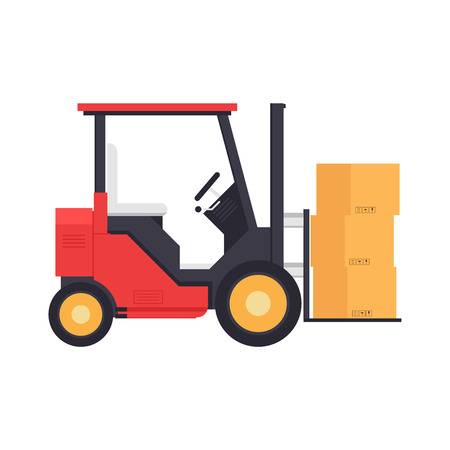 Forklift cartoon vector. free space for text. wallpaper. copy space. box vector. Illustration