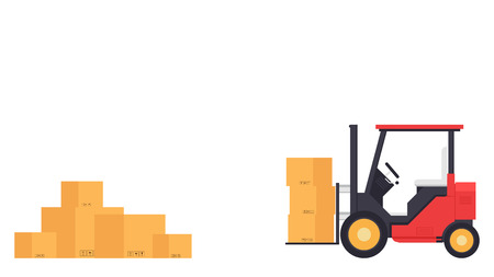 Forklift cartoon vector. free space for text. wallpaper. copy space. box vector. Stock Illustratie