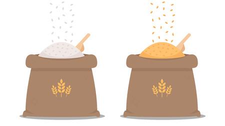 vector de dibujos animados de saco de arroz. bolsa de arroz. símbolo. diseño de logo. Logos