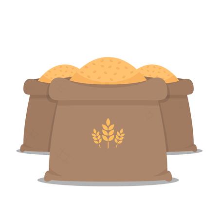 rice sack cartoon vector. rice bag. symbol. logo design.