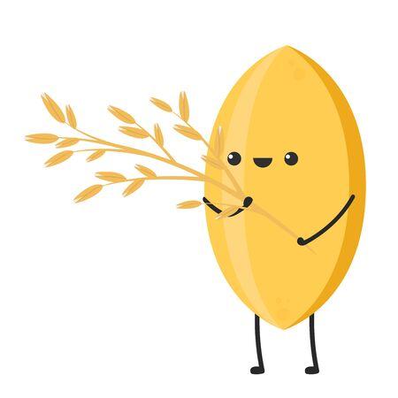Diseño de personajes de arroz. vector de arroz sobre fondo blanco. semilla de arroz.