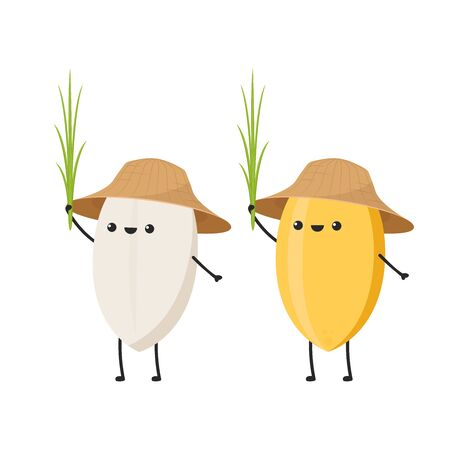 Rice character design. rice vector on white background. rice seed. Vector Illustration