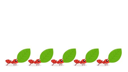 Ants carrying green leaves. Ant vector. Ant on white background. free space for text. copy space