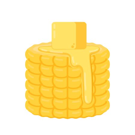 Corn and butter vector. Corn and Butter on corn. Butter stretch vector.