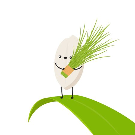 Rice character design. rice vector on white background. rice seed. rice on the leaf.