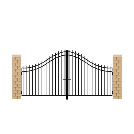 House gate vector. Arch brick door. free space for text.