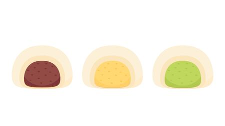 Red bean bun vector. wallpaper. free space for text. Cream bun and Green tea. Steamed Bun vector. Illustration
