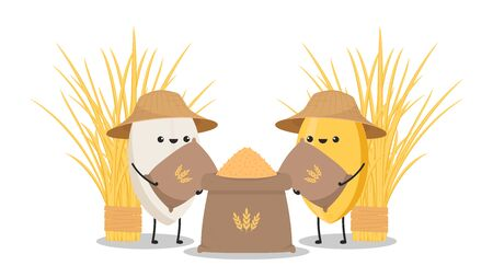 Rice character. rice vector on white background. rice seed. Rice sack vector. Peasant hat vector.