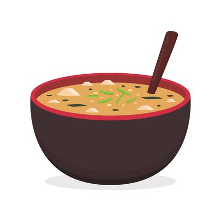 Japan cup vector. Miso soup in cup. wallpaper. free space for text.  イラスト・ベクター素材