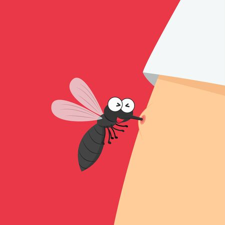 Mosquito bites. mosquito cartoon. wallpaper. free space for text. copy space.