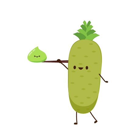 Wasabi root character. Wasabi root on white background. Wasabi mascot.