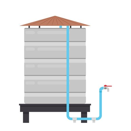 Water tank vector. water tank on white background. tap vector. Illustration