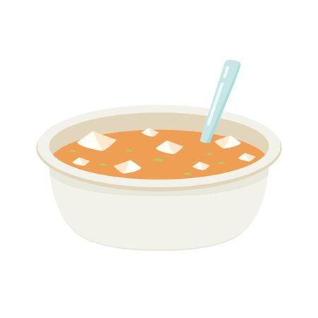 Tofu soup vector. soup in bowl vector.