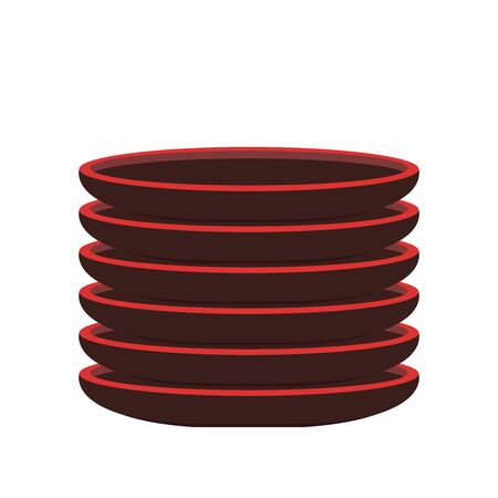 Black plate vector. plate stack. Plate on white background.