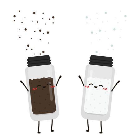 Salt and pepper character. Salt and pepper vector. wallpaper. salt and pepper on white background.